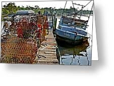 Billys Nets And Sinking Work Boat Greeting Card