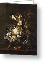 Bindweed And Chrysanthemums Greeting Card