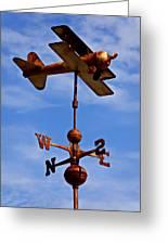 Biplane Weather Vane Greeting Card by Garry Gay
