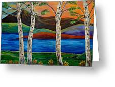 Birch By The Lake Greeting Card