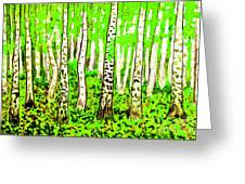 Birch Forest, Painting Greeting Card