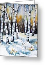 The White Of Winter Birch Greeting Card