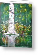 Birch In Flowers Greeting Card