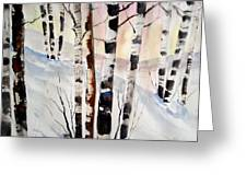 Birch In The Snow Greeting Card