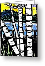 Birch Lake Greeting Card by Jane Croteau