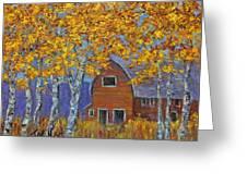 Birch Trees And Barn Greeting Card