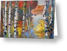 Birch Trees By The Lake Greeting Card