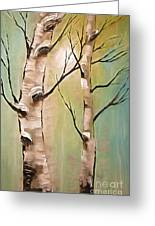 Birch Trees Color Pencil  Greeting Card