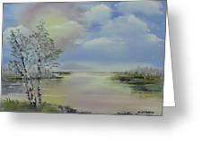 Birch Trees Landscape Greeting Card