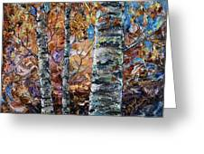 Birch Trees Oil Painting With Palette Knife  Greeting Card