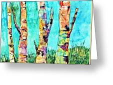 Watercolor Painting Of Birched Trees  Greeting Card