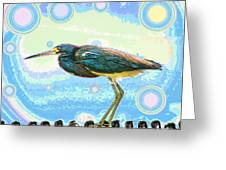 Bird Contemplates The Cosmos Greeting Card by Wendy J St Christopher