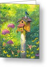 Bird House And Bluebird  Greeting Card