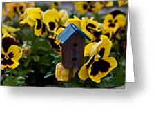 Bird House And Pansies Greeting Card