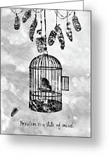 Bird In A Cage-black Greeting Card