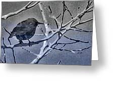 Bird In Digital Blue Greeting Card