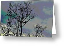 Bird In Tree Silhouette Iv Abstract Greeting Card