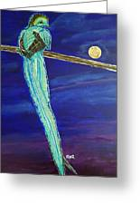 Bird Of Beauty, Moon Blue Greeting Card