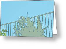 Bird On Fence Aqua II Greeting Card