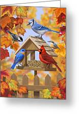Bird Painting - Autumn Aquaintances Greeting Card by Crista Forest