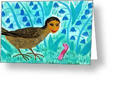Bird People Blackbird And Worm Greeting Card