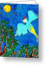 Bird People Green Woodpecker Greeting Card