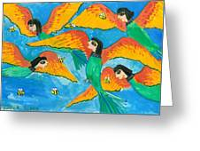 Bird People Little Green Bee Eaters Of Upper Egypt Greeting Card