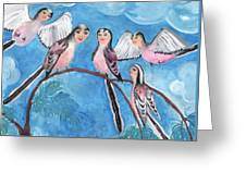 Bird People Long Tailed Tits Greeting Card