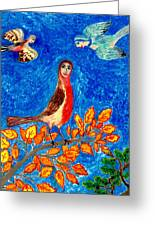 Bird People Robin Greeting Card by Sushila Burgess