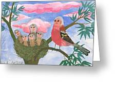 Bird People The Chaffinch Family Greeting Card