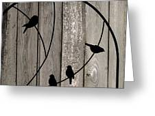 Bird Silhouettes On The Fence Greeting Card