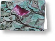Bird Submerged In Leaves Greeting Card