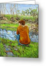 Bird Watching By The Creek Greeting Card