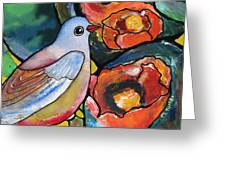 Bird With Prickly Pear Cactus Flowers Greeting Card
