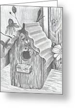 Birdhouse And Flowers Greeting Card