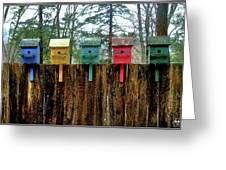 Birdhouses Five Greeting Card