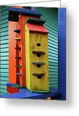 Birdhouses For Colorful Birds 6 Greeting Card