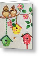 Birds And Birdhouse Greeting Card