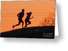 Birds And Fun At Butler Park Austin - Jogging - Sunset Run Greeting Card