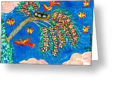 Birds And Nest In Flowering Tree Greeting Card