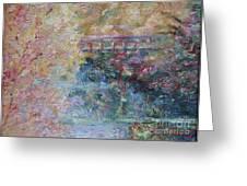 Birds Boaters And Bridges Of Barton Springs - Autumn Colors Pedestrian Bridge Greeting Card