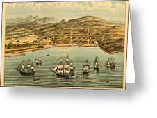 Birds Eye View Map Of San Francisco 1846 Greeting Card