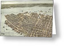 Birds Eye View Of Charleston 1872 Greeting Card