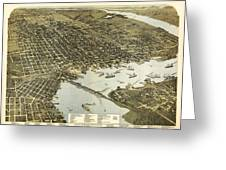 Birds Eye View Of Jacksonville Florida 1893 Greeting Card