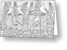 Birds In Flower Garden Coloring Page Greeting Card