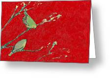Birds In Red Greeting Card
