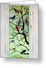 Birds In The Tree Framed Greeting Card