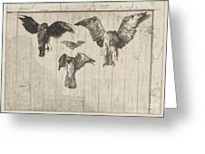 Birds Nailed To A Barn Door (le Haut D'un Battant De Porte) Greeting Card