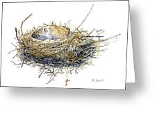 Bird's Nest Watercolor Painting Greeting Card