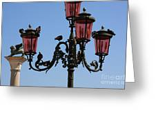 Birds On A Lamp Post In Venice Greeting Card